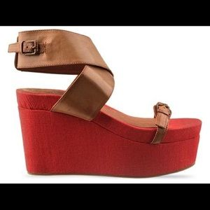 Jeffrey Campbell platforms coral and & nude